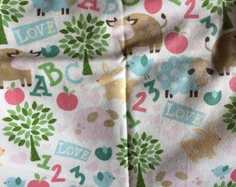 Flannel Receiving Blanket - cows, sheep, letters, numbers, etc on white