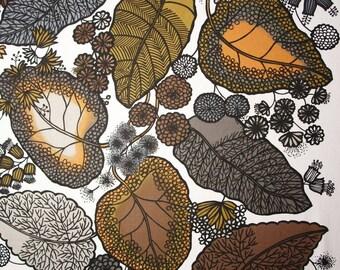 Scandinavian fabric leaf print fabric upholstery fabric curtain fabric Swedish fabric canvas fabric, Svanefors