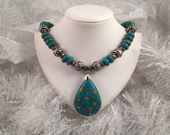 Necklace Mosaic Turquoise  beads,  with silver plated accents