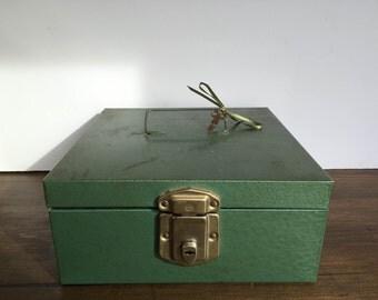 green vintage cash box
