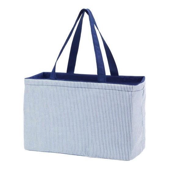 Seersucker ultimate tote large tote tailgate bag huge monogram handbag tailgate bag purse handbag beach bag sorority