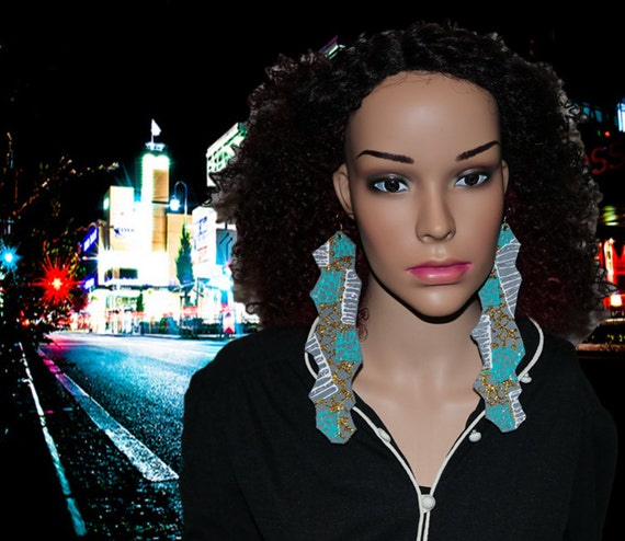 Leading lady - Long hand painted leather earrings - Soft gray, teal, and gold earrings - Statement Earrings