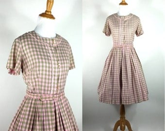 Vintage 1950s Dress - 50s Pink and Green Pastel Plaid Cotton Dress - Checker Me Impressed - M L