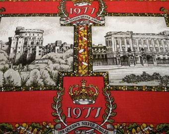 vintage tea towel, 1977, 100% cotton tea towel, 1977 the queens silver jubilee, tea towel, windsor castle, buckingham palace