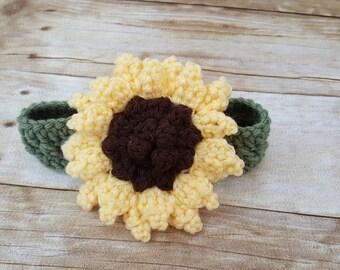 Crochet Sunflower Headband - baby headband - flowered headband - newborn flower headband - handmade - crochet - sunflower