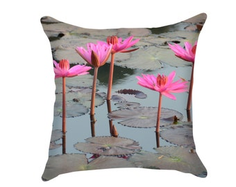 Lotus Flower & Lily Pads Pillow, Zen Throw Pillow with Calming Print, Handmade with Original Fine Art Photograph, Soothing Sage and Pink
