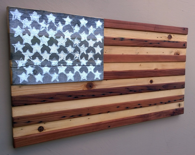 American flag reclaimed wood wall decor 19 x 36 American flag wood wall art