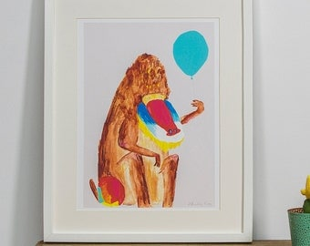 Baboon and Balloon Limited Edition Print by Faye Bradley