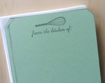 vintage inspired flat note cards and envelopes, stationery set, recipe cards, from the kitchen of, whisk, a2, set of 10