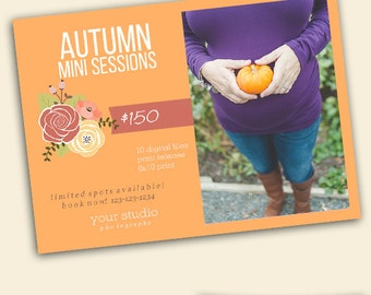 Autumn Mini Session Template - Fall Halloween Mini Sessions - Photographers Card Template - Instant Download