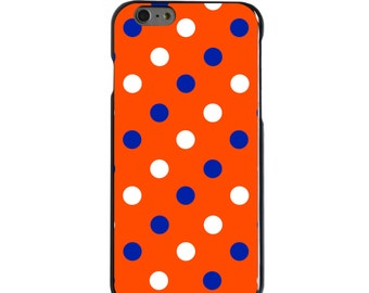 Hard Snap-On Case for Apple 5 5S SE 6 6S 7 Plus - CUSTOM Monogram - Any Colors - Florida UF Gators Colors - Polka Dots Pattern