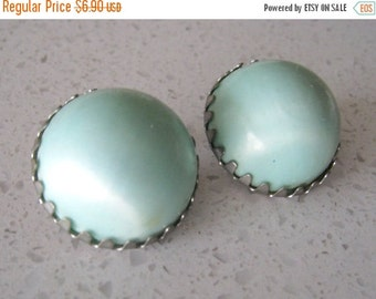 60% OFF Vintage 1950s  Baby Blue Button Clip On Earrings
