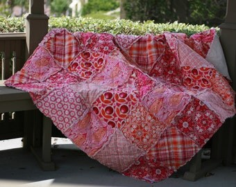 Picnic Quilt,  Throw Quilt, Rag Quilt, Large, Handmade, Designer, Joel Dewberry Notting Hill in Magenta, pink, orange, All Natural