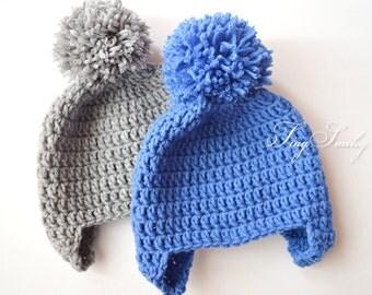 Twin Boy Hats, Newborn Twin Hats, Twin Pompom Hats, Twin Boy Outfit, Hospital Twin Hats, Blue Gray Twin Hats, Twin Boy Gifts, Baby Twin Hats