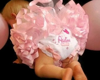 Custom embroidered bloomers with coordinating ribbons