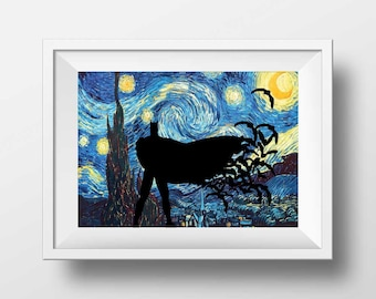 Batman print, nursery wall decor, superheroes wall art decor, Starry Night  poster print