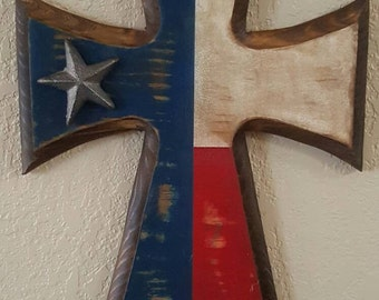 Rustic Texas Flag Cross
