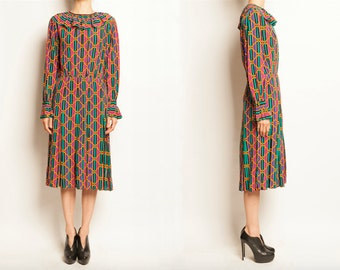 Yves Saint Laurent rive gauche early 1980's geometric motif silk dress