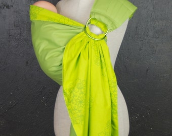 Baby Sling Ring/Green Baby sling/Sling with rings/Sling carrier/Reversible Baby ring Sling/Baby Wrap/