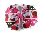 Cupcake Hair Bow for a Birthday Girl Or Party Gift, Ribbon Spike Hair Clip, Pink Brown Cake & Polka Dots, Birthday Photo Prop