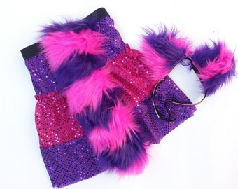 Cheshire Cat skirt +fluffy tail+ears- Children's