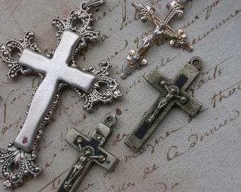 5pcs French antique religious crucifix silver religious Jesus cross ornate rosary filigree silver crucifix