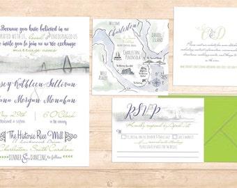 Charleston watercolor invitation Suite