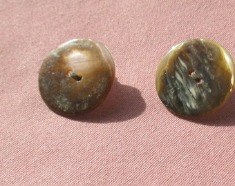 Retro Mother Of Pearl Button Pierced Earrings