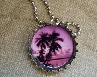 Palm Tree Bottle Cap Necklace