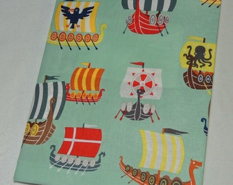 Journal composition notebook cover in viking ships fabric Ready to ship
