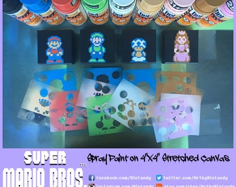"""NES Super Mario Bros. 2 Spray Paintings on 4""""x4"""" Stretched Canvas"""