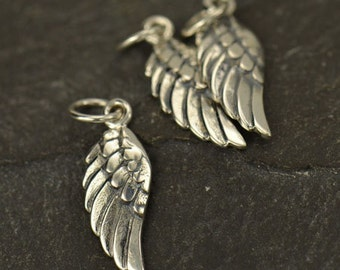 Tiny Sterling Silver Left Angel Wing Charm