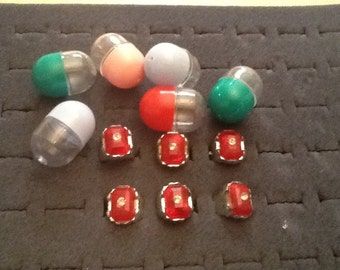 1960's vending kids ring with simulated red stone and plastic reinstone set of 6