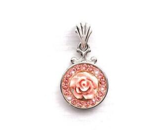 Light Peach Swarovski Crystal Flower Necklace, Peach Crystal Pendant Necklace