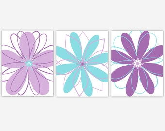 Purple Aqua Lavender Teal Flower Prints Girl Bedroom Art Wall Decor Modern Floral Baby Girl Nursery Decor Tween Toddler Bedroom Prints