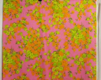 70s Psychedelic Mod Flower Power Double Knit Polyester Fabric Groovy Neon pink Orange Green Yellow 1.5 Yards