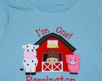 Applique Baby Onepiece Bodysuit or T-Shirt - Barnyard Friends
