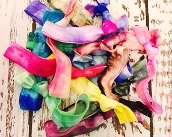 20 Hand Dyed Tie Dye Hair Ties Ponytail Holders | Tie Dye | Hair Bands | Assorted Tie Dye