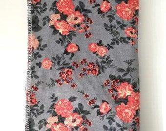 Grey Floral Baby Swaddle Blanket