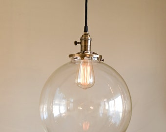 "Hanging Pendant Light Fixture with 12"" Glass Globe Shade"