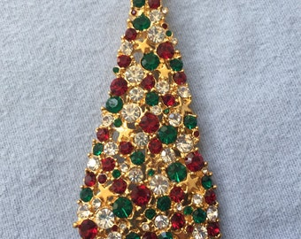Vintage Christmas Tree Pin Brooch with Green, Red, and White Rhinestones