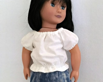18 inch Doll White Blouse - Doll Peasant Blouse - Doll Clothes - Doll Blouse - Doll Shirt