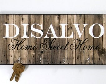 Personalized Housewarming Gift New Home Gift Wood-Look Key Holder Key Rack Hanger Monogrammed Wedding Gift Home Sweet Home Wall Organizer