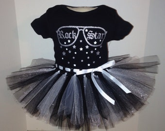 0/3 3/6 months  ROCK STAR Tutu and Onesie outfit set for baby girl  Halloween Costume  m month size