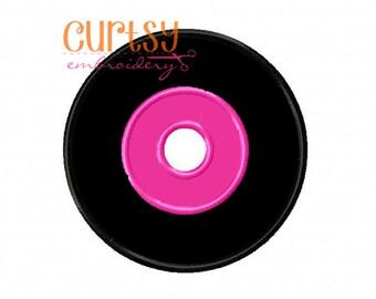 Record Embroidery Design, Record Applique Design, Poodle Skirt Applique Design