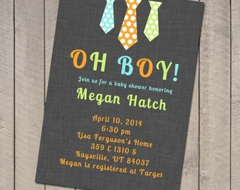 Tie baby boy shower invitation