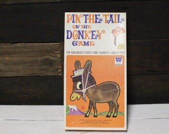 Vintage Pin the Tail on the Donkey Game, 1970 Whitman Party Game - Unused