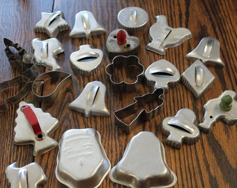 Lot of 22 Vintage Cookie Cutters, Aluminum Cookie Cutters