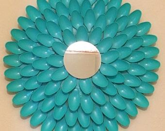 """Aqua Spoon Mirror, Mirror craft, Aqua Color Spoon craft, 16"""" inch diameter"""