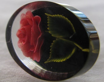 Beautiful and Complex Intaglio Red Rose Lucite Earrings, Vintage Mid Century Screw Backs
